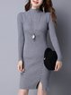 Buttoned Long Sleeve Casual Sweater Dress
