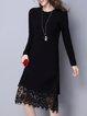 Black Lace A-line Crew Neck Long Sleeve Sweater Dress
