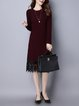 Casual Guipure Lace Crew Neck Knitted Long Sleeve Sweater Dress