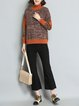 Long Sleeve Turtleneck Abstract Casual Intarsia Sweater