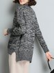 Gray Stand Collar Long Sleeve Knitted Sweater