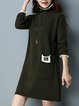 Long Sleeve Casual Knitted Intarsia A-line Sweater Dress