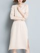 Casual Long Sleeve Slit Solid Sweater Dress