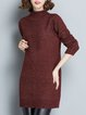 Long Sleeve Casual Cable H-line Turtleneck Sweater Dress