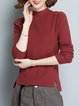 Asymmetric Solid Simple Long Sleeve Sweater