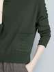 Crew Neck Pockets Simple Long Sleeve Knitted Sweater