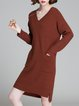 V Neck Knitted Long Sleeve Simple Asymmetric Sweater Dress