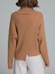 Casual Asymmetrical Slit Solid Long Sleeve Sweater