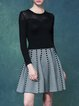 Black Casual A-line Crew Neck Knitted Mini Dress