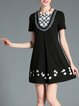 Black Crew Neck Polyester Floral Casual Mini Dress
