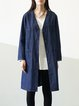 Blue V Neck Simple Long Sleeve H-line Pockets Plain Denim Coat