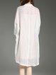 White Ramie H-line Printed Work Shirt Dress