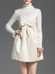Jacquard Turtleneck Bow Girly Frill Sleeve Sweater Dress