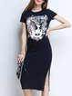 Black Cotton Sheath Short Sleeve Midi Dress