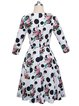 Floral Crew Neck Casual Printed 3/4 Sleeve Midi Dress