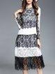Black-white Lace Bateau/boat Neck A-line Long Sleeve Boho Dress