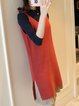 Pleated Casual H-line Long Sleeve Crew Neck Dress With Cami
