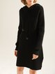 Casual Long Sleeve Knitted H-line Solid Sweater Dress