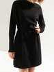 H-line Stand Collar Casual Long Sleeve Sweater Dress