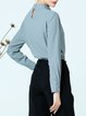Casual Gathered Long Sleeve Stand Collar Beaded Solid Blouse