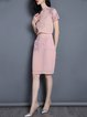 Pink Polyester Two Piece Short Sleeve Cutout Midi Dress