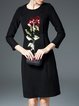 Elegant Appliqued Long Sleeve Mini Dress