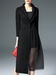Black Cotton-blend Long Sleeve Buttoned Coat