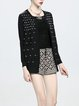 Black Long Sleeve Angora-blend Geometric Cardigan