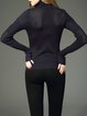 Dark Blue Angora-blend Turtleneck Long Sleeve Sweater