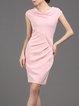 Gathered Elegant Sheath Cotton-blend Short Sleeve Mini Dress