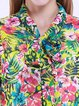 Multicolor Stand Collar Long Sleeve Blouse