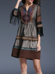 Coffee 3/4 Sleeve Fringed Mini Dress