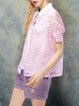 Pink Sweet V Neck Blouse