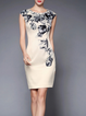 Gray Sheath Floral Sleeveless Embellished Mini Dress