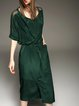 Green Half Sleeve Slit Silk Paneled H-line Midi Dress
