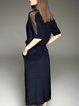 Navy Blue Plain Casual H-line Midi Dress