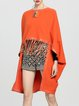 Orange Denim Batwing Plain Poncho