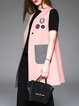 Pink Appliqued Simple Stand Collar Vests And Gilet