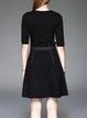 Black Crew Neck Cotton Half Sleeve Ruffled Pockets Mini Dress