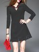 Black Long Sleeve Stand Collar Stripes Mini Dress