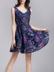 Embroidery Casual Floral Sleeveless V Neck Mini Dress