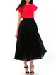 Black Casual Chiffon A-line Midi Skirt