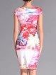 Multicolor Short Sleeve Crew Neck Printed Midi Dress