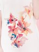 White Floral H-line Short Sleeve Tunic