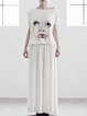 White Cotton-blend Cowl Neck Short Sleeve Maxi Dress