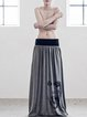 Gray H-line Cotton-blend Casual Painted Maxi Skirt