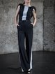 Black Plain Paneled Short Sleeve Jumpsuit