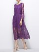 Purple Sheath Pierced Floral Cocktail Midi Dress