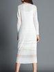 White Crew Neck H-line Simple Silk-blend Midi Dress
