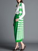 Green Printed Silk-blend Simple Stripes Vests And Gilet